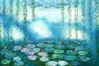 "CLAUDE MONET - WATER LILIES & PASTURES SPECIAL DESIGN MINT GREEN 24x36 "" FANTASTIC OIL PAINTING – image 2"