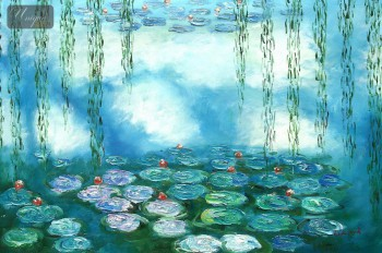 "CLAUDE MONET - WATER LILIES & PASTURES SPECIAL DESIGN MINT GREEN 24x36 "" FANTASTIC OIL PAINTING – image 1"