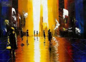 "ABSTRACT - OXFORD STREET SHOPPING 32x44 "" ORIGINAL OIL PAINTING – image 1"