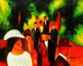 "AUGUST MACKE - PROMENADE WITH WHITE GIRLS IN HALF FIGURE 16x20 "" OIL PAINTING – image 2"