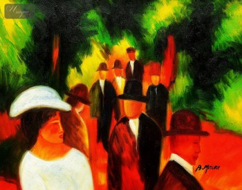 "AUGUST MACKE - PROMENADE WITH WHITE GIRLS IN HALF FIGURE 16x20 "" OIL PAINTING – image 1"