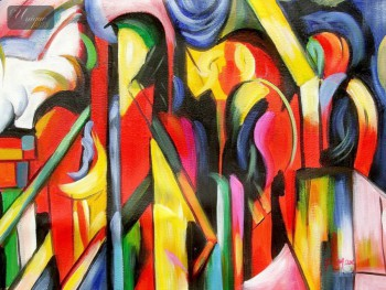 "FRANZ MARC - STABLES 16x20 "" EXPRESSIONISM OIL PAINTING – image 1"