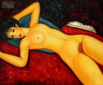 "AMEDEO MODIGLIANI - NUDE WITH BLUE CUSHION 20x24 "" OIL PAINTING – image 1"