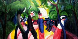 "AUGUST MACKE - PROMENADE 1913 24x48 "" PAINTED BY HAND IN OIL – image 2"