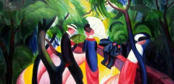 "AUGUST MACKE - PROMENADE 1913 24x48 "" PAINTED BY HAND IN OIL – image 1"