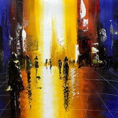 "ABSTRACT - OXFORD STREET SHOPPING 32x32 "" ORIGINAL OIL PAINTING – image 2"