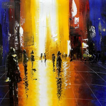 "ABSTRACT - OXFORD STREET SHOPPING 32x32 "" ORIGINAL OIL PAINTING – image 1"