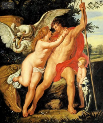 "PETER PAUL RUBENS - VENUS AND ADONIS 20x24 "" OIL PAINTING MUSEUM QUALITY – image 1"