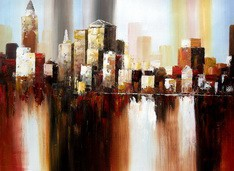 "ABSTRACT - DOWNTOWN MANHATTAN SKYLINE 32x44 "" ORIGINAL OIL PAINTING – image 2"