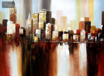 "ABSTRACT - DOWNTOWN MANHATTAN SKYLINE 32x44 "" ORIGINAL OIL PAINTING – image 1"