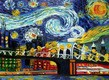 "HOMAGE TO VAN GOGH -  NEW YORK STARRY NIGHT 12x16 "" OIL PAINTING – image 2"