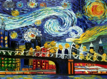 "HOMAGE TO VAN GOGH -  NEW YORK STARRY NIGHT 12x16 "" OIL PAINTING – image 1"