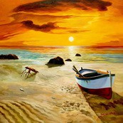 "NORTH SEA SUNSET & BOAT32x32 "" ORIGINAL OIL PAINTING – image 2"