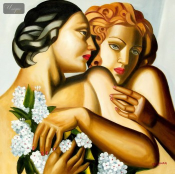 "HOMAGE TO T. DE LEMPICKA - SPRING 32x32 "" REPRO OIL PAINTING – image 1"