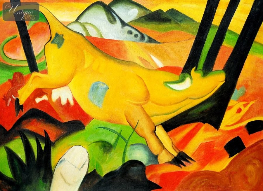 franz marc the yellow cow 32x44 quot reproduction oil
