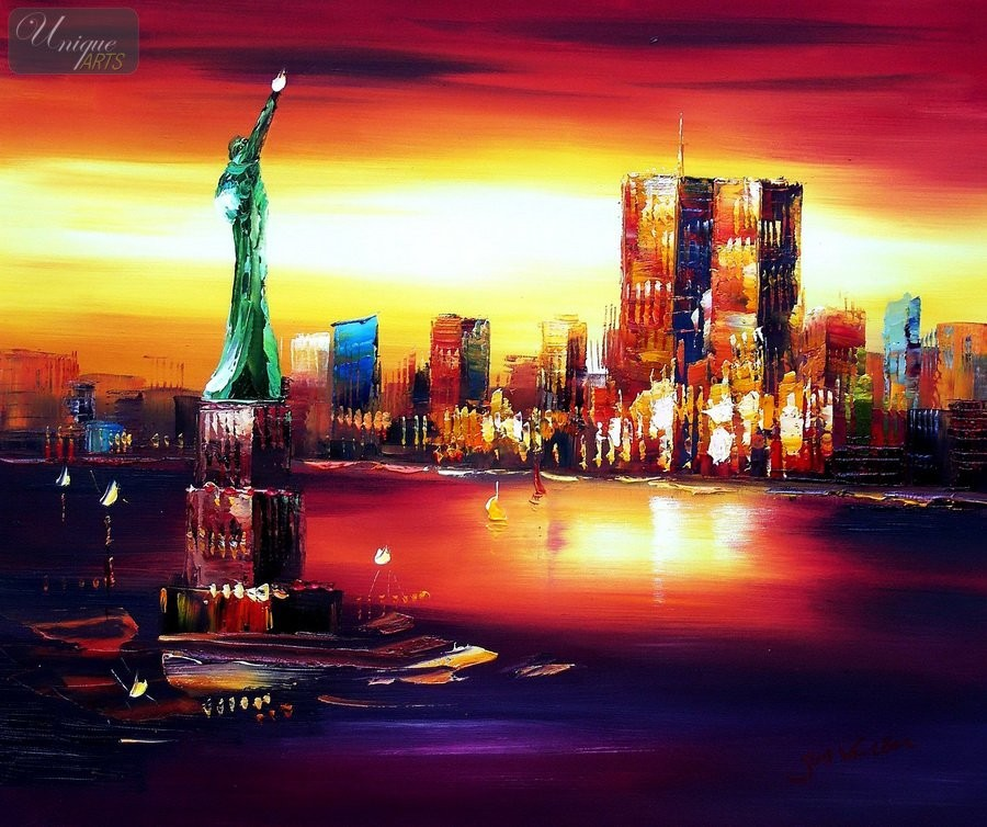 Abstract new york manhattan skyline at sunset 20x24 for New york skyline painting