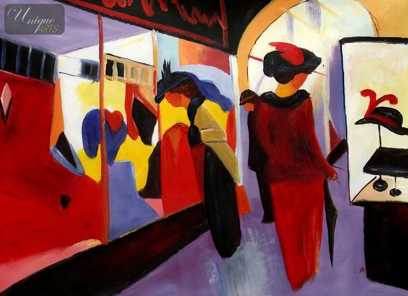 August Macke The Fashion Store 32x44 Reproduction Oil