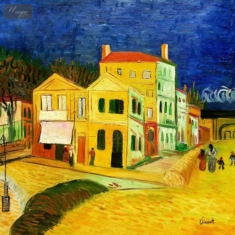 Vincent van gogh the yellow house 32x32 hand painted for Oil paintings for the home